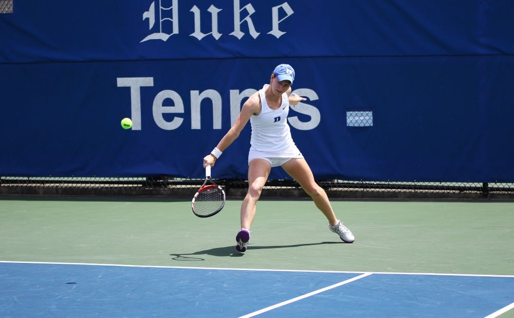 <p>Junior Chalena Scholl helped Duke win the doubles point Friday&nbsp;and won her singles match in straight sets.</p>