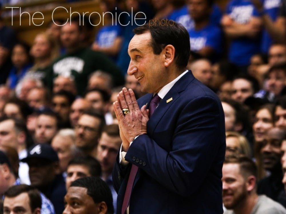 Duke head coach Mike Krzyzewski is expected to miss about four weeks after Friday's procedure.