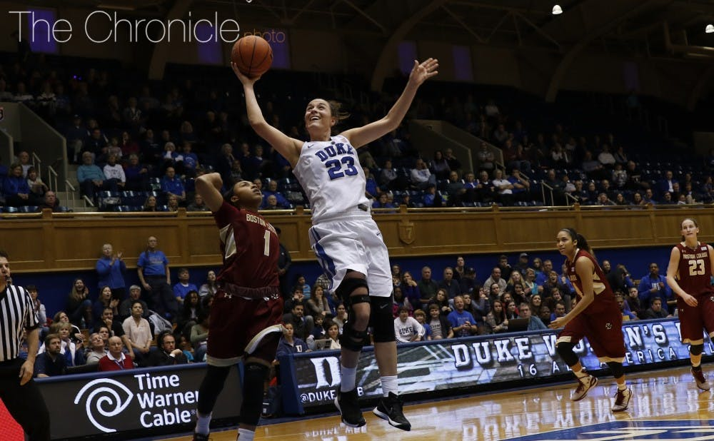 <p>Redshirt sophomore Rebecca Greenwell scored 23 points and made five 3-pointers to help the Blue Devils pull away from the Eagles in the second half Sunday.</p>