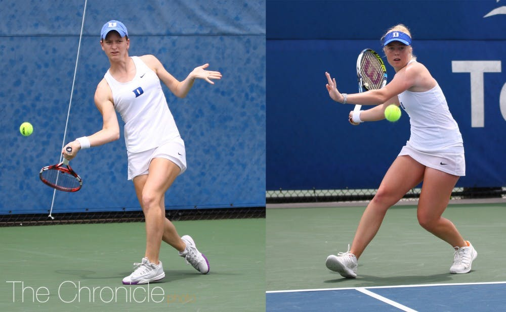 <p>Chalena Scholl and Kaitlyn McCarthy reached the semifinals last weekend, one of the few highlights for the Blue Devils against a stacked field.&nbsp;</p>
