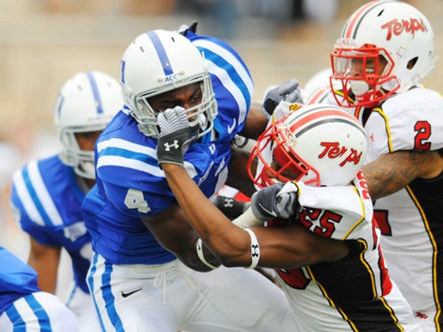 The Blue Devils will face a potent rushing attack and a stingy red zone defense when they travel to Maryland.
