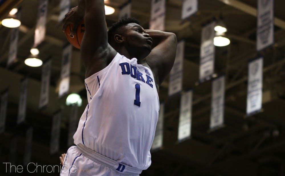 <p>Zion Williamson will look to ignite the Cameron crowd with his dunking ability Tuesday.</p>