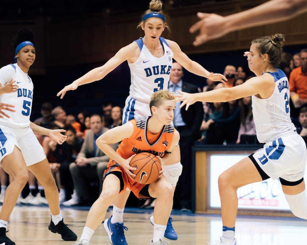 The Blue Devils played swarming defense against Idaho State.