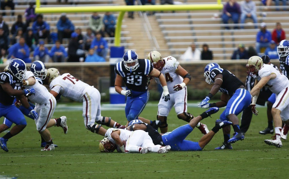 <p>After holding Georgia Tech to less than 200 rushing yards and keeping Boston College out ofDuke territory for most of the afternoon, the Blue Devils will look to slow down Army Saturday.</p>
