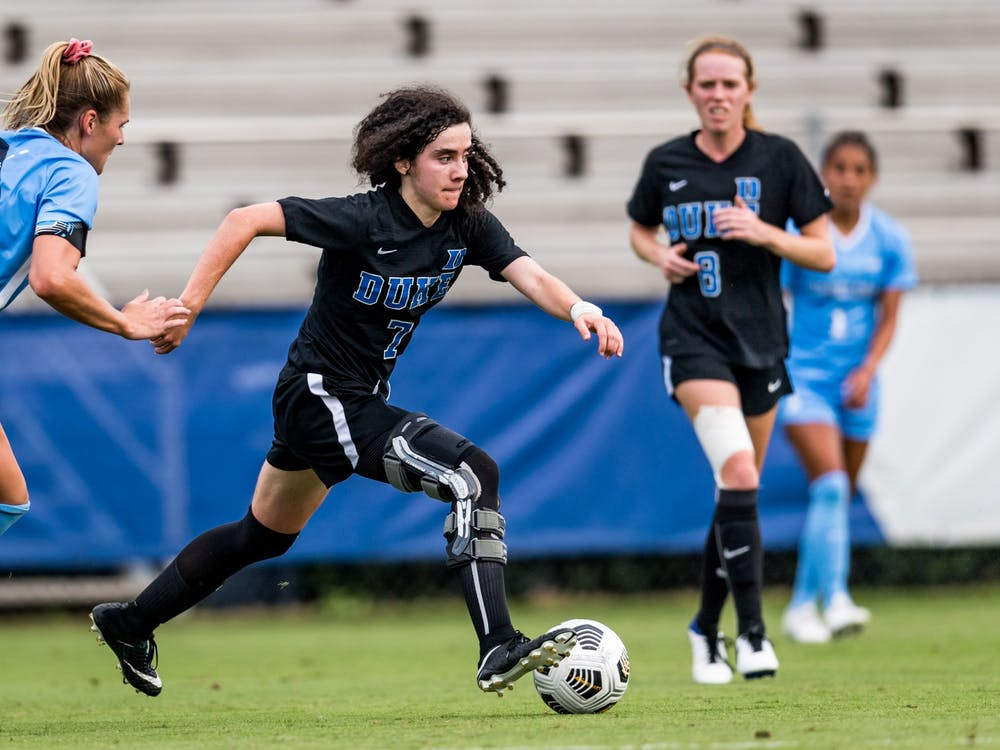 Sophomore midfielder Sophie Jones and Duke's offense must play aggressive if the Blue Devils want to come out with the win Sunday.