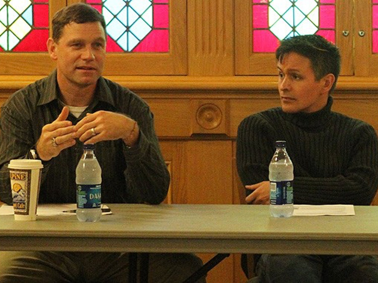 """Col. Kevin Colyer and Professor Sean Metzger participate in a panel discussion hosted by Duke Political Union, evaluating the consequences of the military's controversial """"don't ask, don't tell"""" policy."""