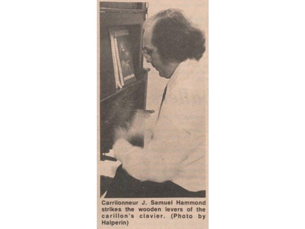 Samuel Hammond playing the university carillon in 1976.