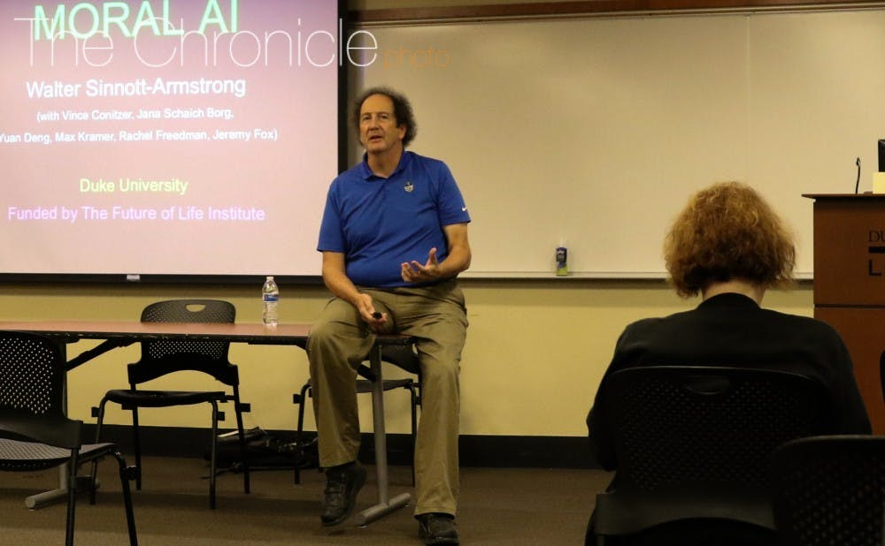 <p>Walter Sinnott-Armstrong examined how&nbsp;morality and&nbsp;artificial intelligence relate during a talk Monday evening.&nbsp;</p>