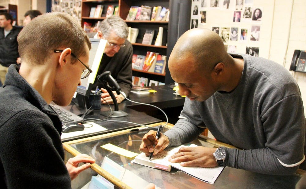 <p>Former Blue Devil Jay Williams signed copies of his memoir last week at The Regulator in Durham.</p>