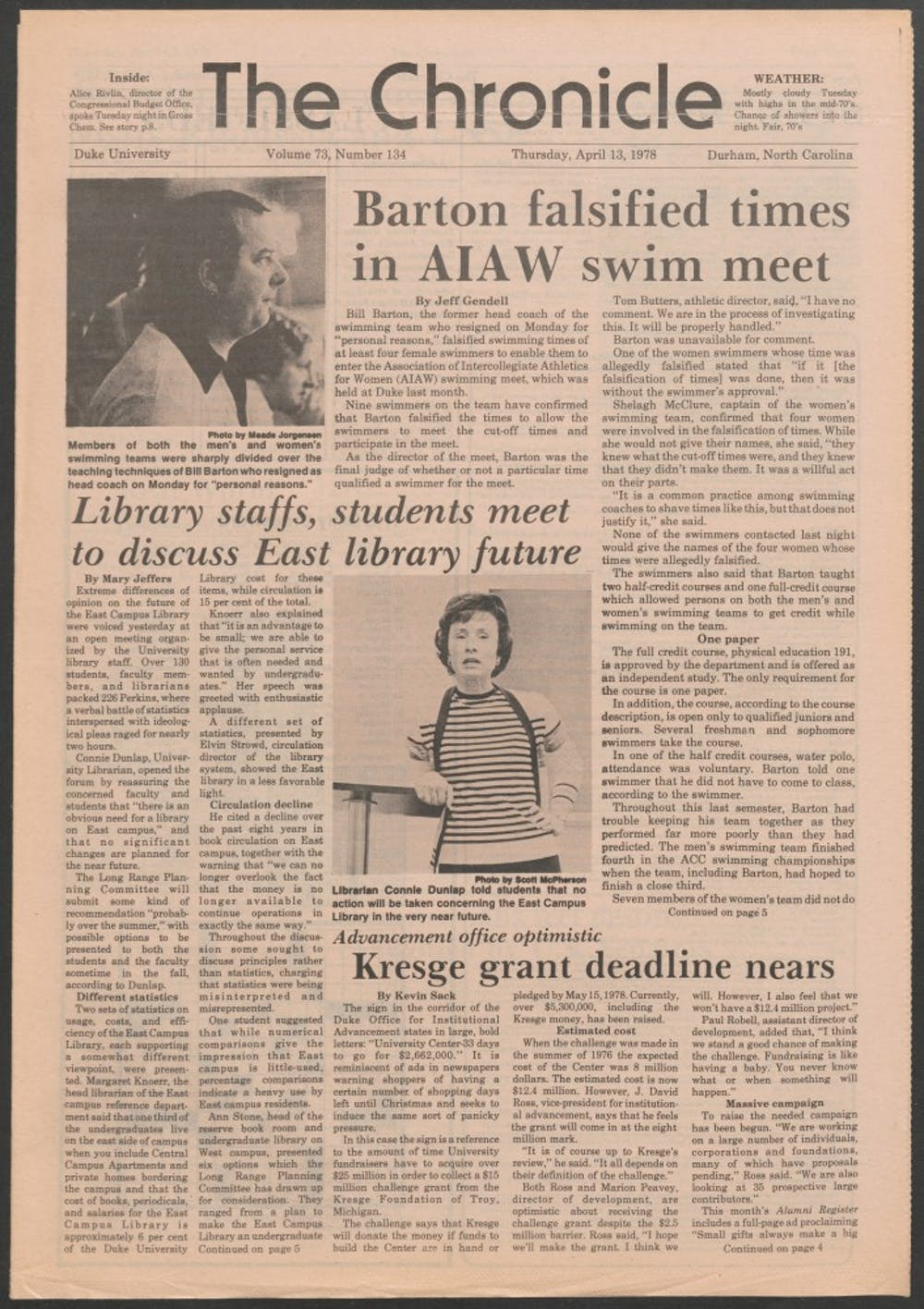<p>Embattled swimming coach Bill Barton resigned in 1978 after falsifying some of his swimmers' times.</p>