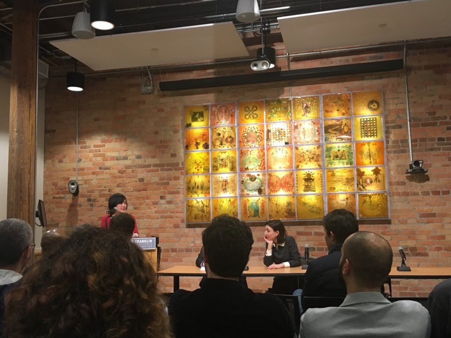 """Professors Rey Chow and Anne-Gaëlle Saliot speak at the """"On Cinema"""" symposium hosted Friday by the Franklin Humanities Institute."""