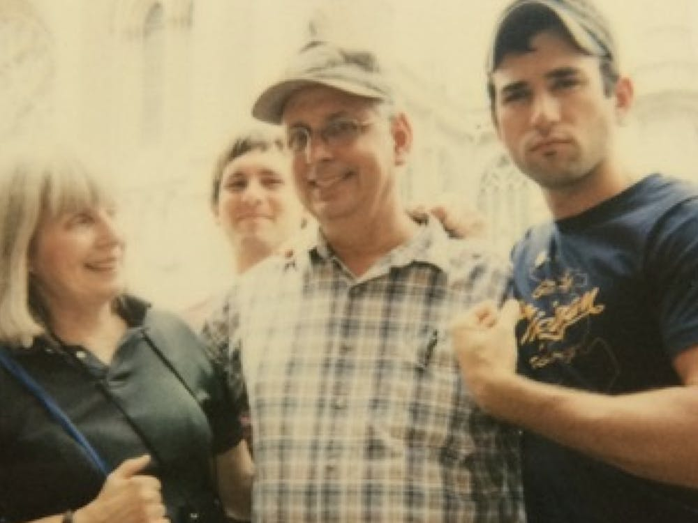 <p>Earlier this week, Sufjan Stevens (right) released his latest collaboration with his stepfather Lowell Brams (center).</p>