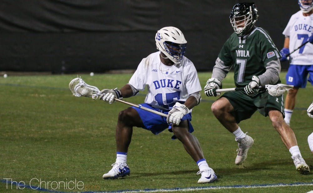 <p>Nakeie Montgomery made things happen for the Blue Devils, completing his hat trick in the first quarter and finishing the night with a team-best four goals.</p>