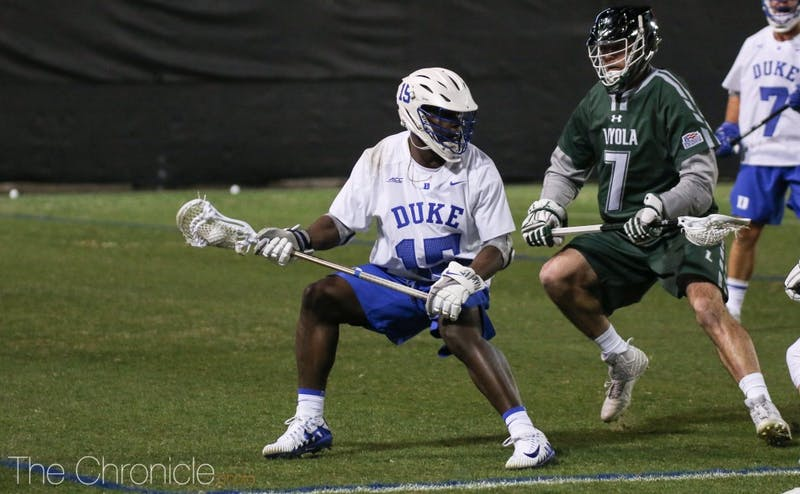 Nakeie Montgomery made things happen for the Blue Devils, completing his hat trick in the first quarter and finishing the night with a team-best four goals.