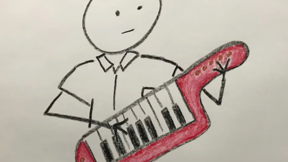 """A drawing of a red keytar drew first-year Sam Carpenter to a Chronicle newsstand on Oct. 12. His Reddit post about the song """"Library Takeout,"""" the subject of a Chronicle story that day, caused the song to explode online."""