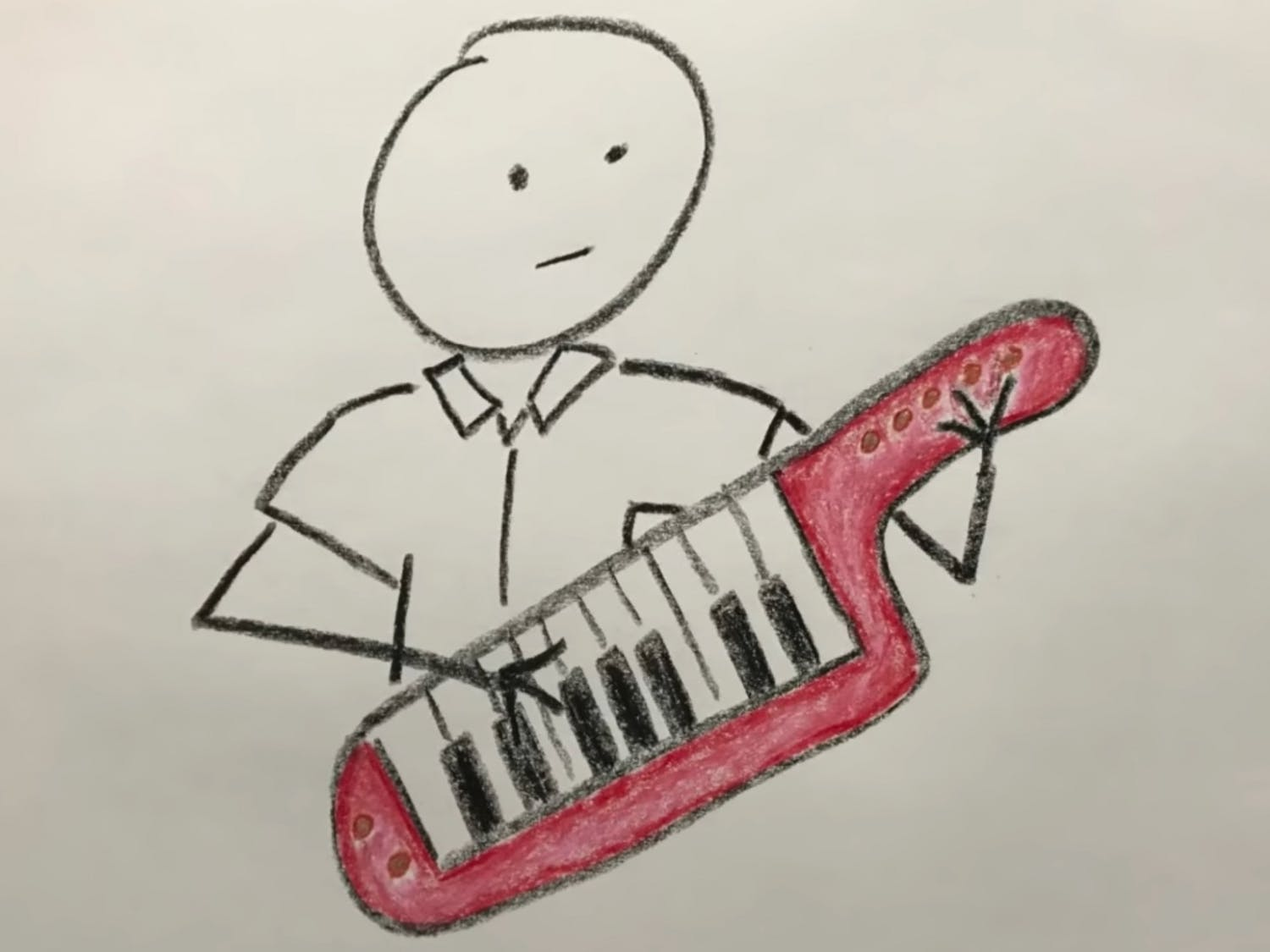 "A drawing of a red keytar drew first-year Sam Carpenter to a Chronicle newsstand on Oct. 12. His Reddit post about the song ""Library Takeout,"" the subject of a Chronicle story that day, caused the song to explode online."