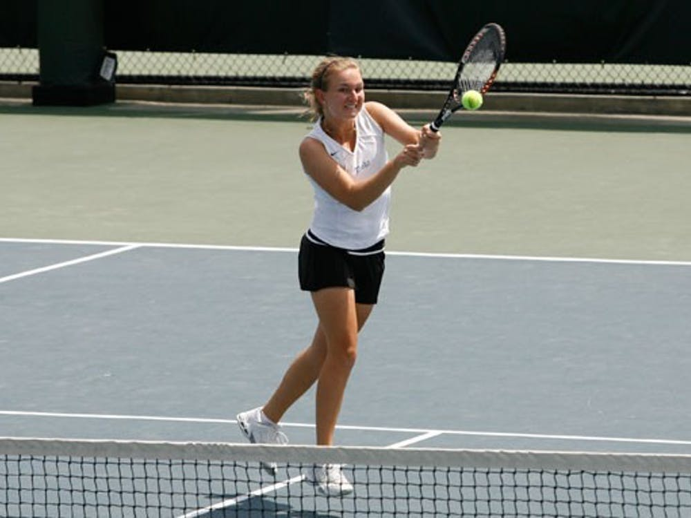 Sophomore Monica Gorny won her matches in singles and doubles Sunday, but it wasn't enough for Duke to overcome Miami.