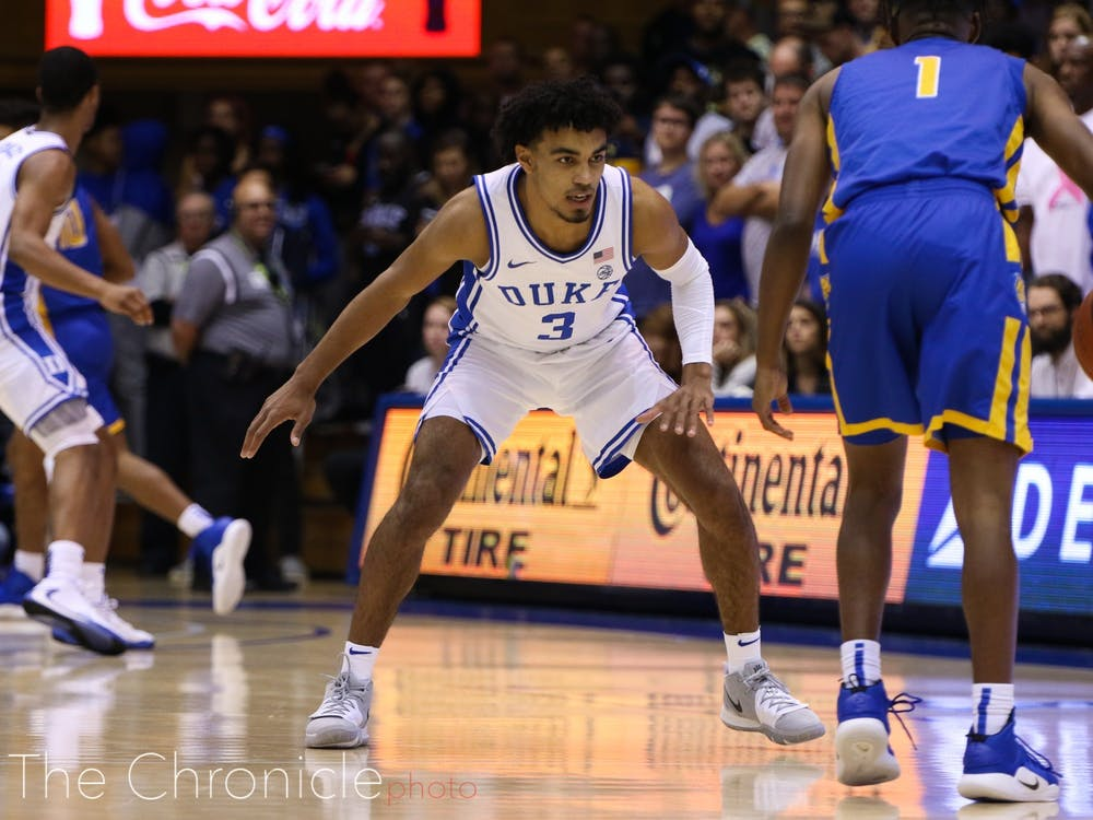 Tre Jones exited Tuesday's contest with an injury in the first half.