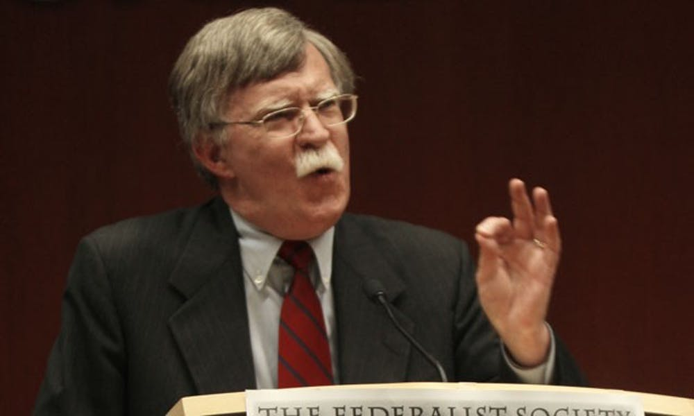 """John Bolton, former U.S. ambassador to the U.N., speaks at the School of Law Thursday. Bolton criticized President Barack Obama's lack of emphasis in foreign policy and said his """"naïveté is overwhelming."""""""