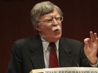 "John Bolton, former U.S. ambassador to the U.N., speaks at the School of Law Thursday. Bolton criticized President Barack Obama's lack of emphasis in foreign policy and said his ""naïveté is overwhelming."""