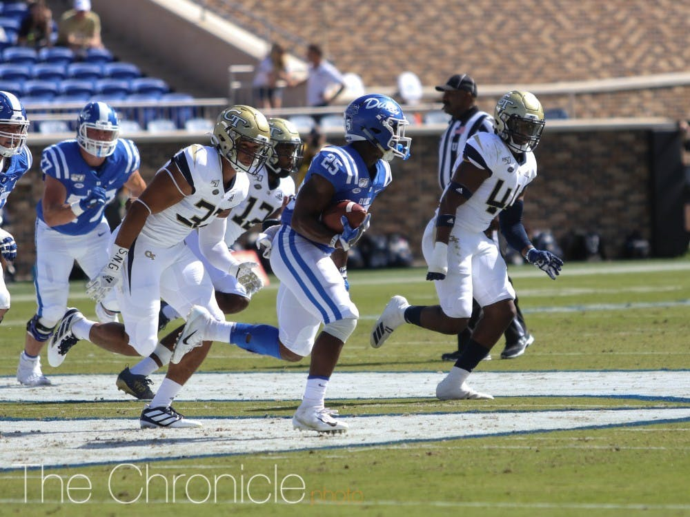 Deon Jackson scored two touchdowns in Duke's win over Georgia Tech