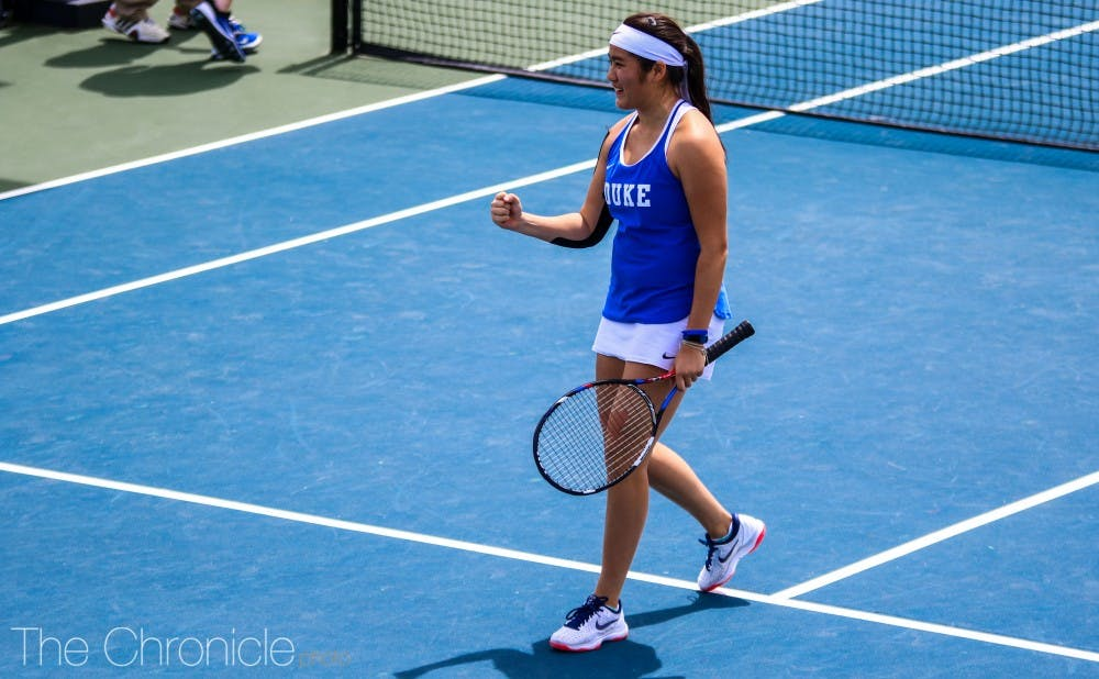 <p>Kelly Chen battled on the court in Seattle.</p>