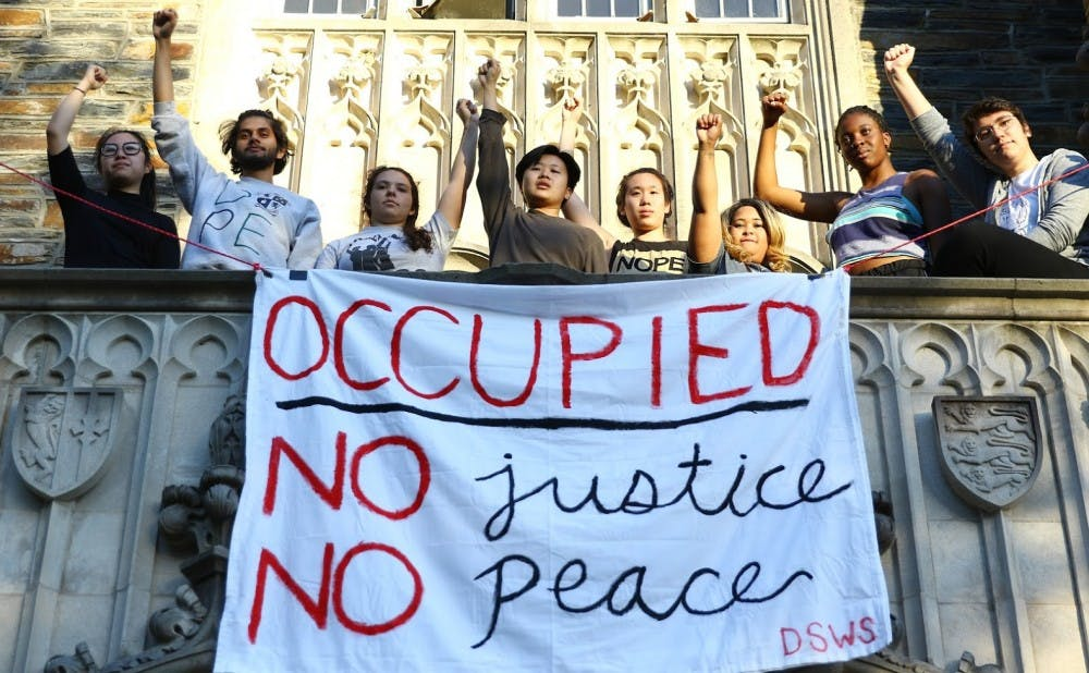 <p>Nine students initiated the Allen Building sit-in Friday afternoon and could be asked to leave Sunday.</p>