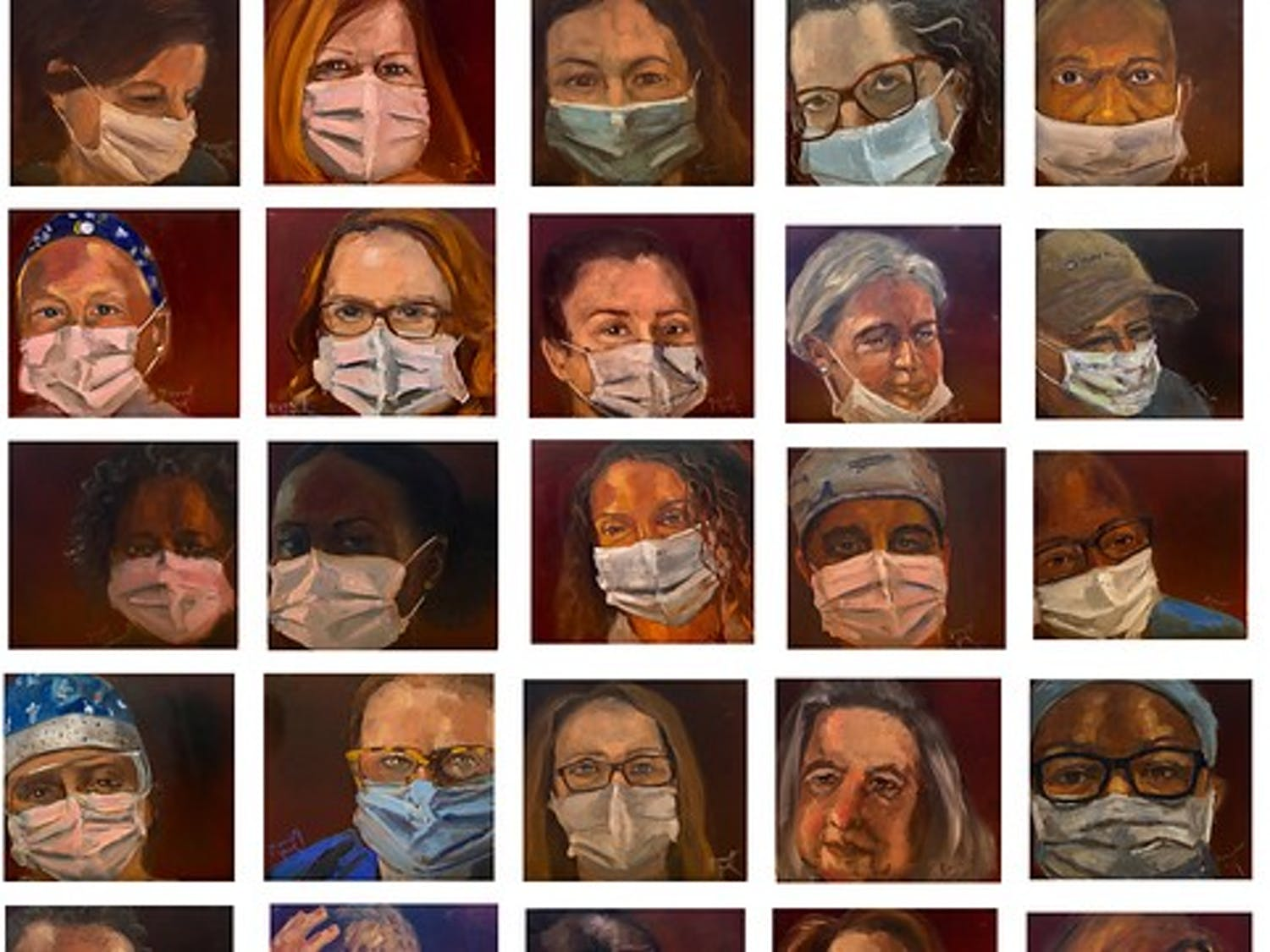 """""""45 Portraits in 45 Days"""" features the portraits of Duke Hospital essential healthcare workers."""