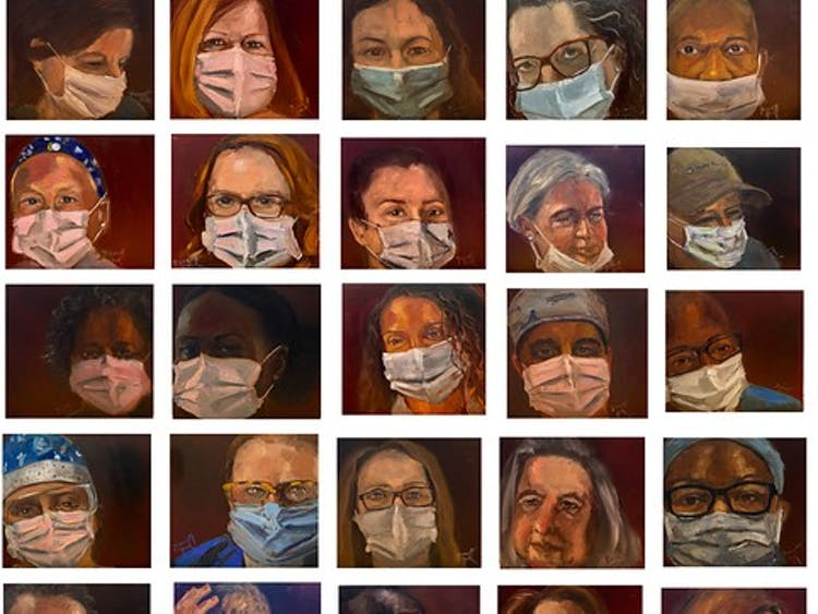 """45 Portraits in 45 Days"" features the portraits of Duke Hospital essential healthcare workers."