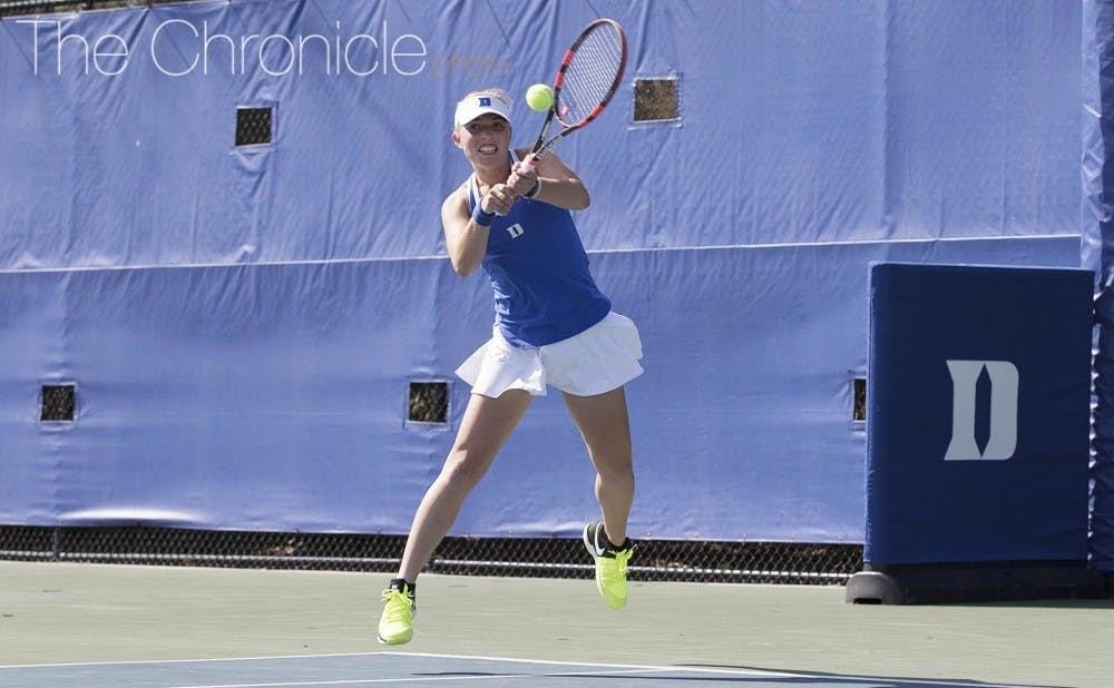 <p>Ellyse Hamlin dominated on Court 6 in her two weekend matches to help the Blue Devils rout two more ACC opponents.</p>