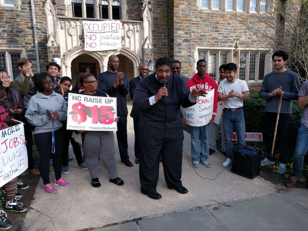 The Rev. William Barber II, president of the state's chapter of the NAACP, announced that students would leave the Allen BuildingFriday afternoon.