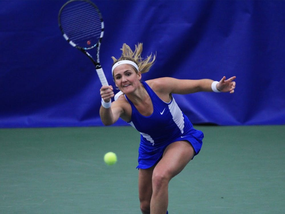 Senior Annie Mulholland and the Blue Devils dropped their fourth and fifth straight match on the road this weekend.