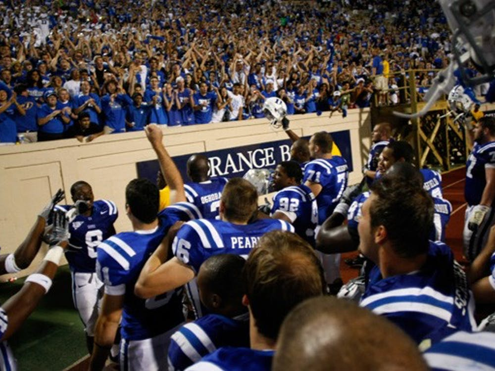 "When the Blue Devils defeated James Madison in David Cutcliffe's first game as head coach, Duke students chanted ""BCS! BCS!"" at the players."