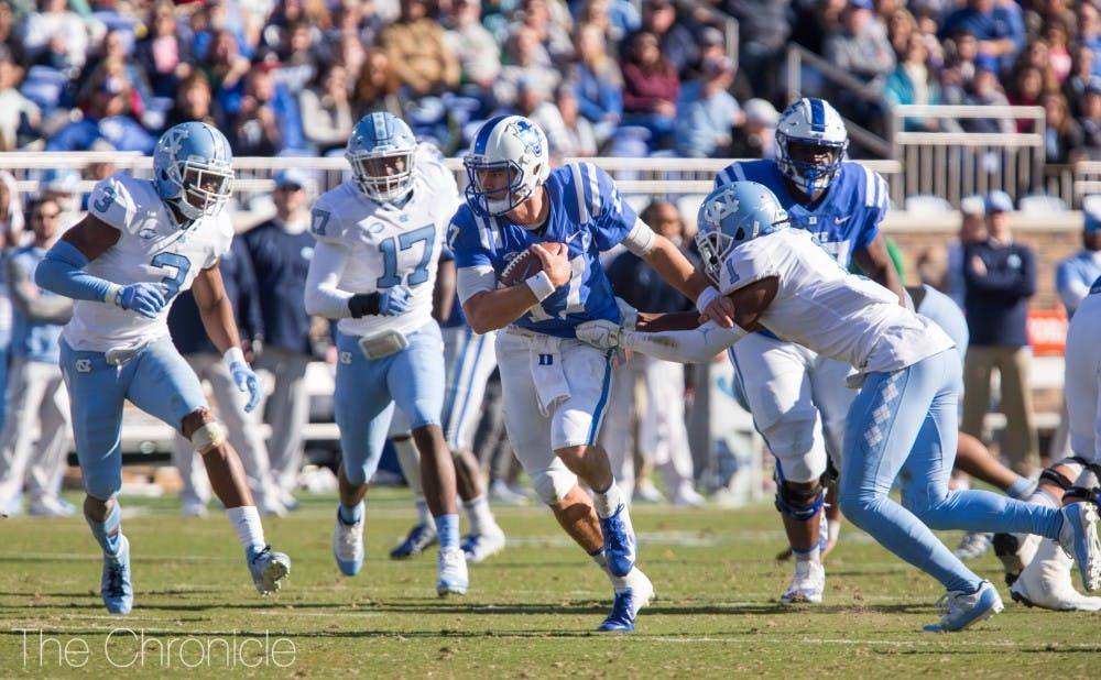 <p>Daniel Jones broke Duke's all-purpose yardage record last week.&nbsp;</p>