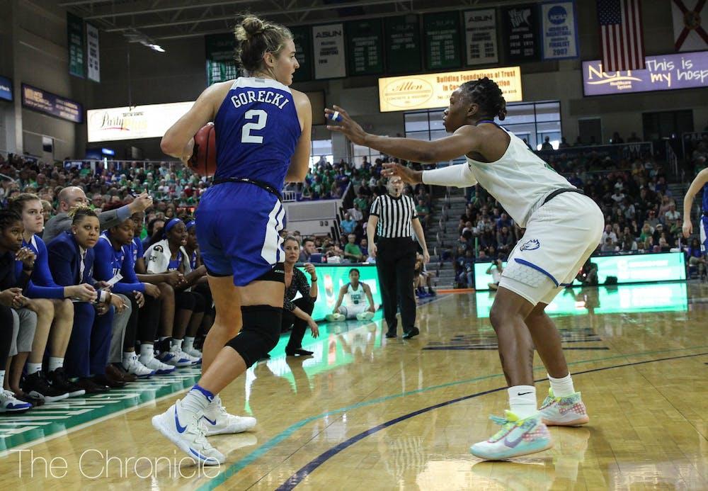 <p>Haley Gorecki and the Blue Devils struggled against FGCU.</p>