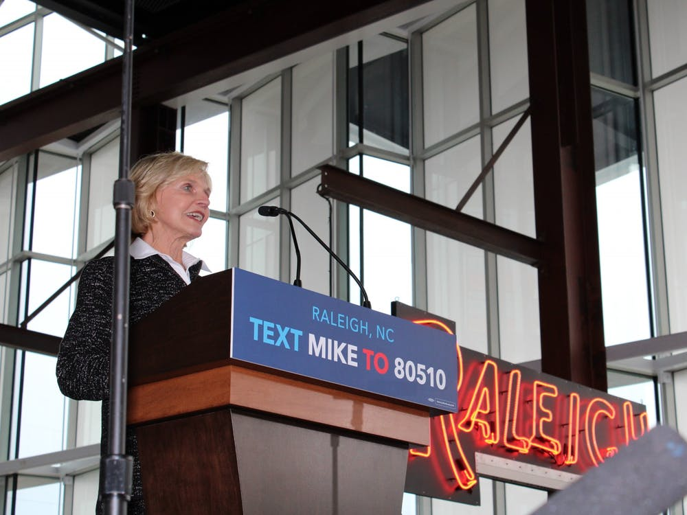 Bev Perdue, the first female governor of North Carolina (serving from 2009 to 2013), spoke in support of Democratic presidential candidate Michael Bloomberg Thursday, February 13 at Raleigh's Union Station.