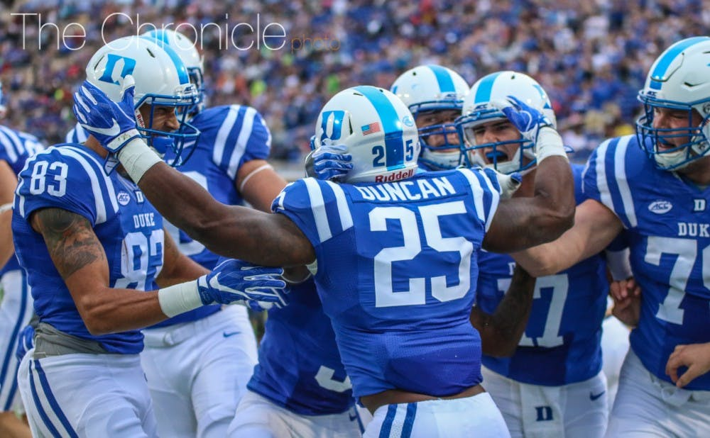<p>The Blue Devils overpowered the Eagles early in the contest thanks to the power running of Jela Duncan.</p>