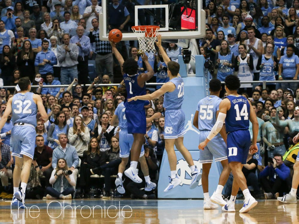 Vernon Carey Jr. burned North Carolina in the paint, but the Tar Heels controlled the lead in the first half.