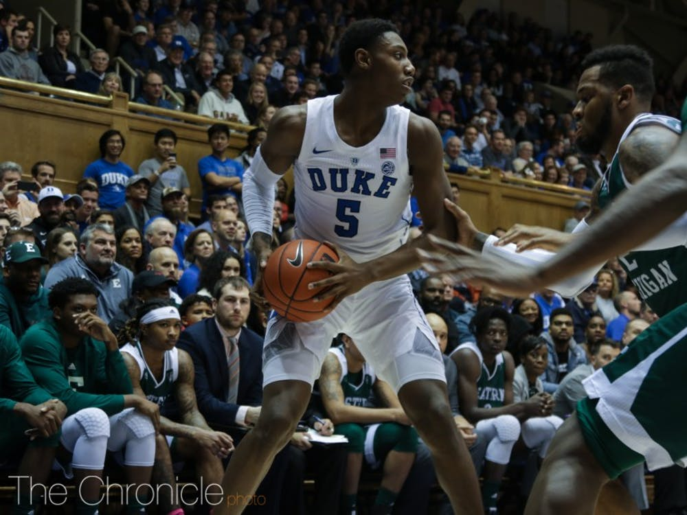 R.J. Barrett led the Blue Devils' offensive attack in the first half against Hartford.