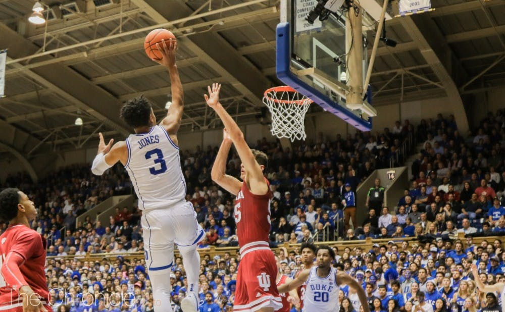 <p>Tre Jones looked solid once again on Tuesday night.</p>