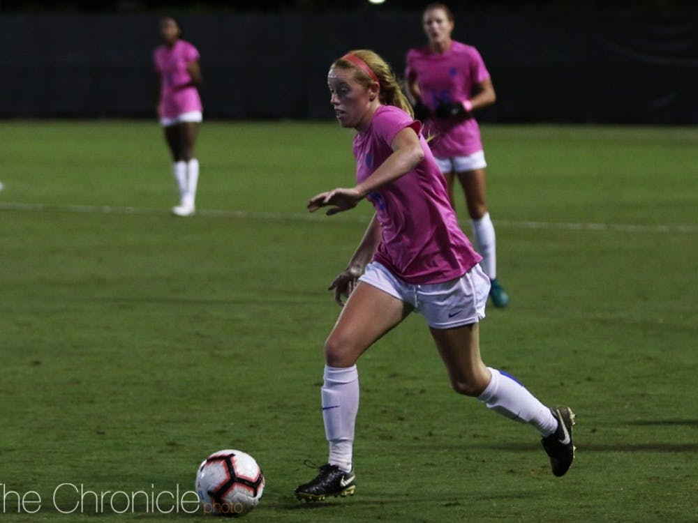 Tess Boade didn't get the start Thursday, but was part of the Blue Devil attack that eventually earned a game-winning score on a penalty kick goal in the 80th minute.