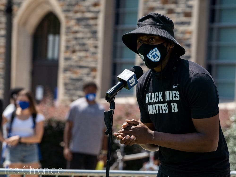 Smith, shown above at a Black Lives Matter protest in August 2020, is not one to shy away from social issues.
