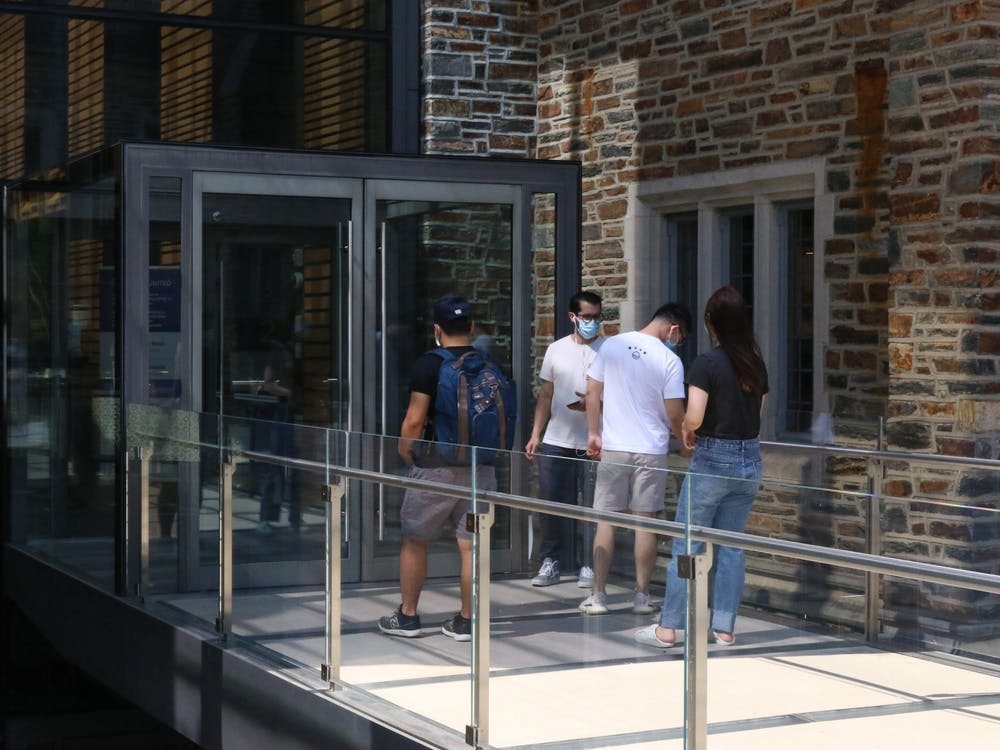 Students scan into the Brodhead Center on West Campus.