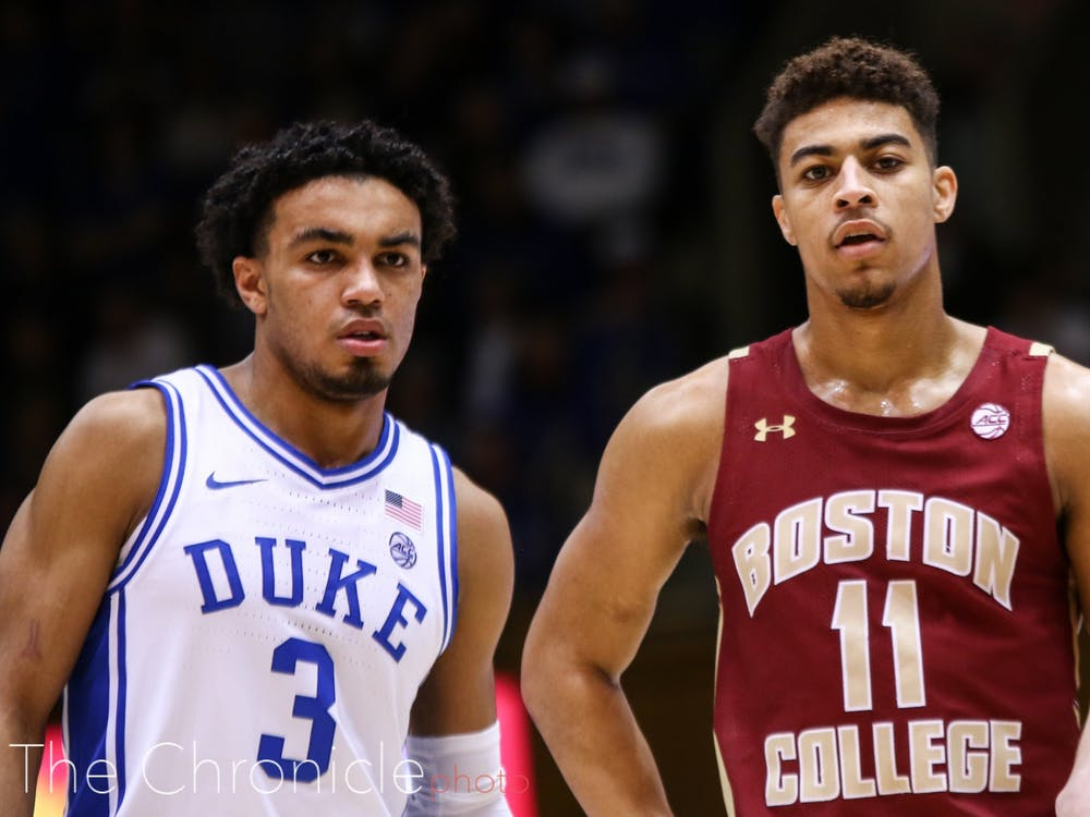 <p>Derryck Thornton (right) played in Cameron Indoor Stadium Tuesday for the first time since he played for the Blue Devils in the 2015-16 season.</p>