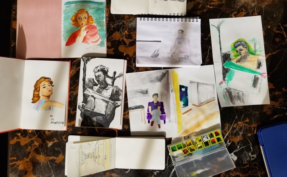 The artwork produced at a Draw Durham sketch walk.