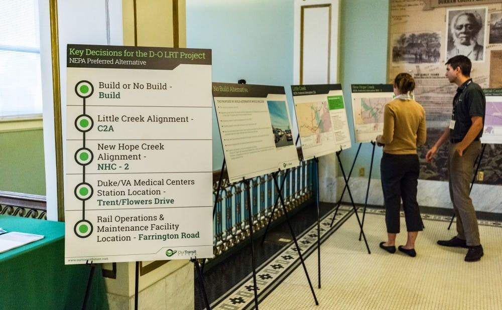 <p>Residents of Durham and surrounding areas gathered Thursdayto discuss the proposed 17-stop, $1.8 billion light rail that would connect Durham and Chapel Hill</p>