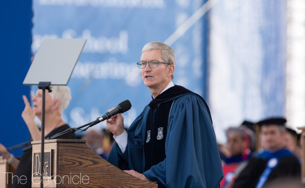 <p>Tim Cook, Apple CEO, addresses the graduates at the 2018 Duke Commencement.&nbsp;</p>