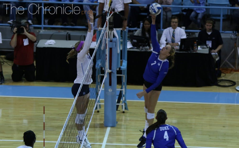 <p>Freshman Leah Meyer's 13 kills and .440 hitting percentage were the silver lining in Duke's straight-set loss to Louisville.</p>