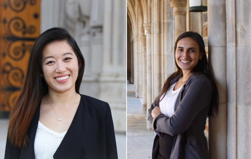 <p>Gwen Geng (left) was announced as the original winner in the SOFC chair election, but the result was overturned in favor of&nbsp;Alexa Soren (right).</p>