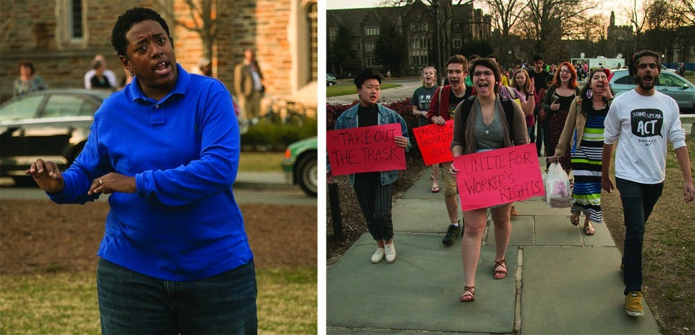 <p>Former Parking and Transportation Services employees described their fear of retaliation during Tuesday's student-led protest.</p>